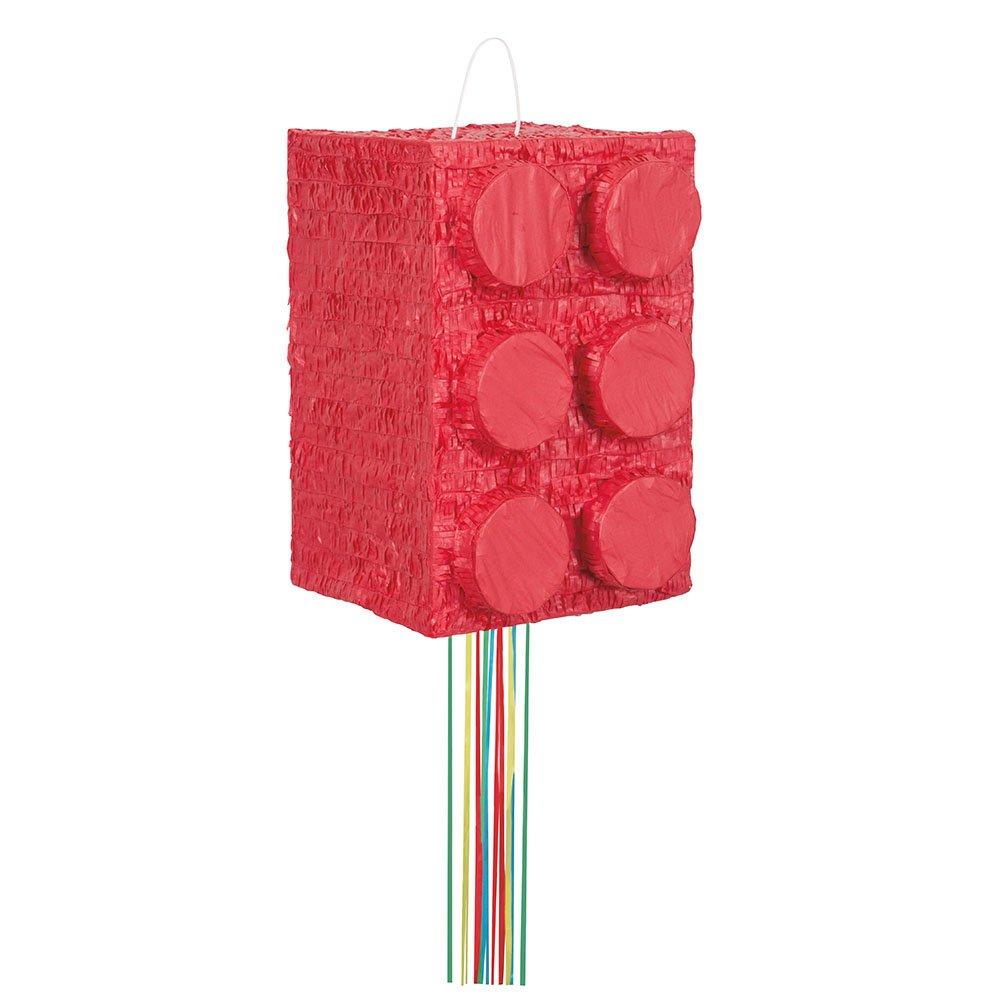 Red Building Block Pinata, Pull String