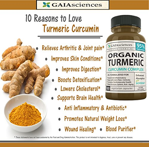 GAIA Sciences Turmeric Curcumin Bioperine 180ct 2100mg 95% Standardized Best Absorption Black Pepper Extract, Anti-Inflammatory, Joint Pain Relief, Immune System Liver Detox Booster, Organic Capsules Photo #5