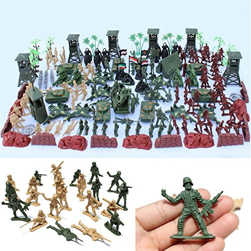 170 PCS Plastic Toy Soldiers Kit Army Men Figures Accessories Play Set Gift Model For Kids Boys