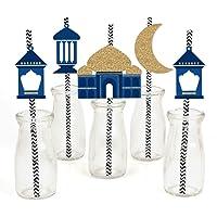 Ramadan - Paper Straw Decor - Eid Mubarak Striped Decorative Straws - Set of 24