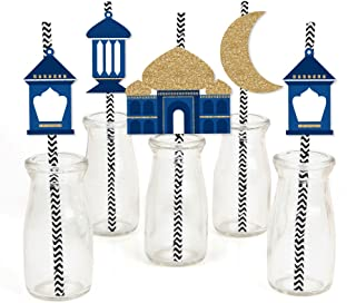 product image for Ramadan - Paper Straw Decor - Eid Mubarak Striped Decorative Straws - Set of 24