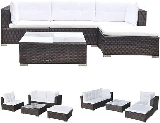 vidaXL Conjunto de Muebles de Jardín 5 Piezas Ratán Sintético Marrón Juego Comedor Exterior Mesa y Sillas Patio Porche Terraza Material Estilo Mimbre: Amazon.es: Jardín