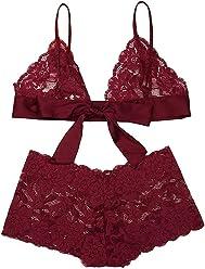 829b23f6731ba Women s Lace Bralette Strappy Lingerie Set Bridal Eyelash Bra Panty Set  Valentine s Day Underwear Negligee