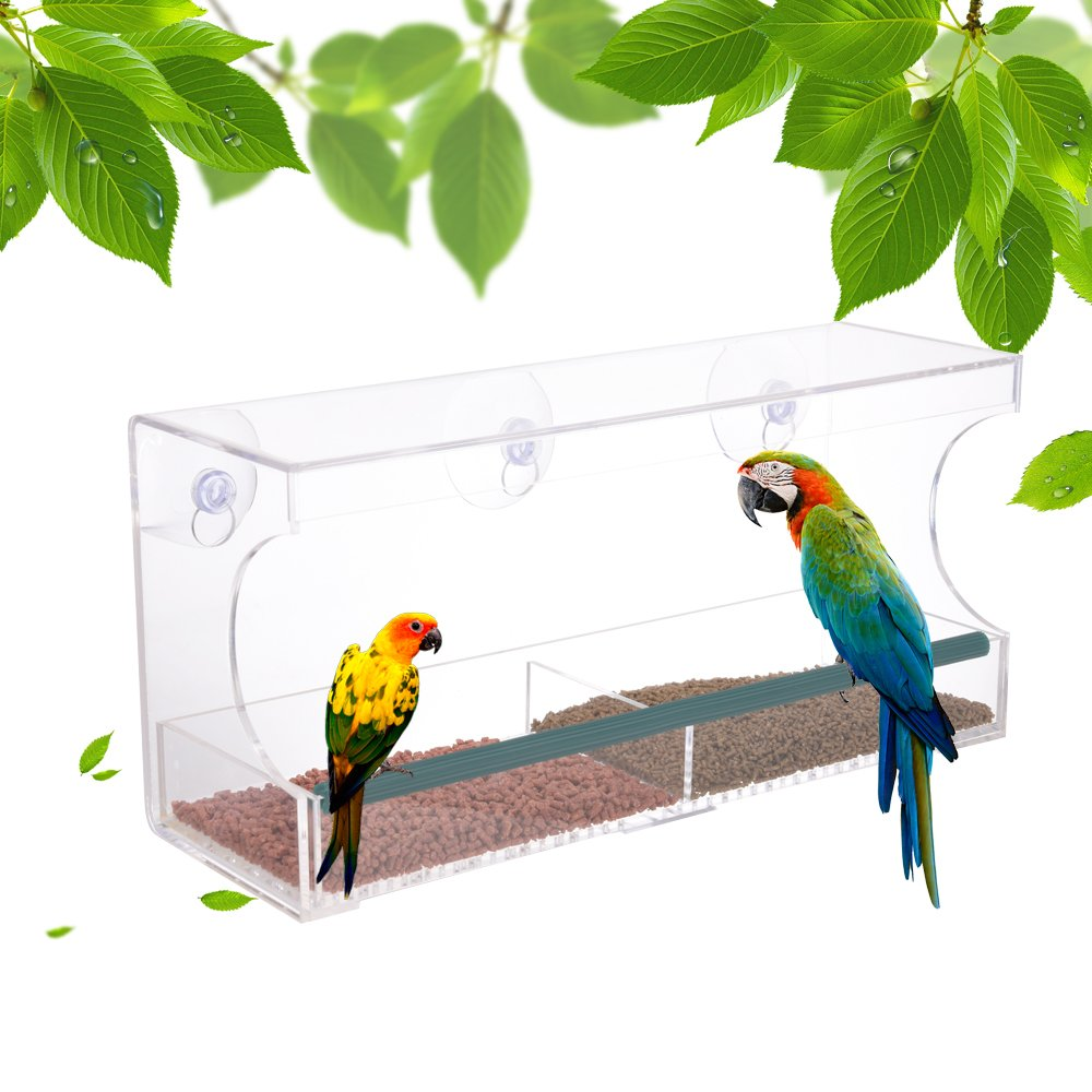 Ju&Ju Window Bird Feeder,Clear Acrylic with Removable Tray,Easy to Clean, Drain Holes and 3 Strong Suction Cups.Large Size, Weatherproof Jialing