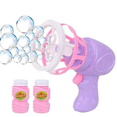 Yuntop Bubble Guns with 2 Bottles Bubble Refill Solution Funny Automatic Bubble Blower Electric Bubble Machine Outdoor Kids Toys Games, Summer Toy, Outdoors Activity, Easter, Birthday Gift: Home & Kitchen