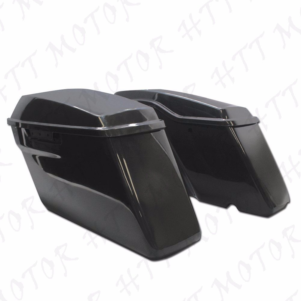 HTTMT- Replacement of Chrome Black Rear Saddlebag Bracket Guard Bars For 2014-2016 Harley Touring Street Road Glide Electra Glide Road King