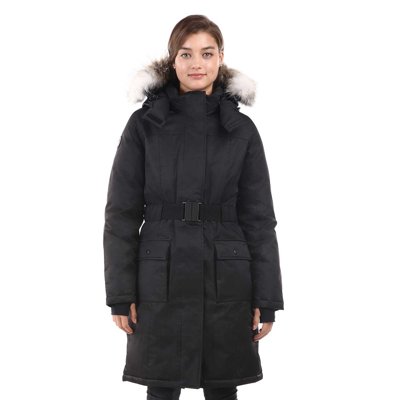 Triple F.A.T. Goose SAGA Collection | Estelle Womens Hooded Goose Down Jacket Parka with Real Coyote Fur (2XL, Black)