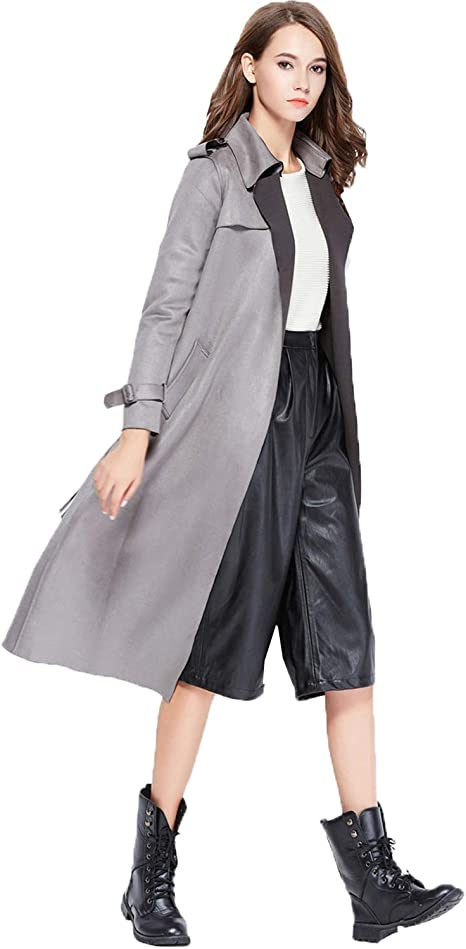 Fitaylor Women Suede Trench Coats Lapel Belted Duster Long Jacket