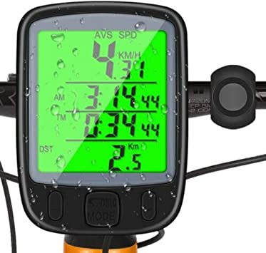 Cuentakilómetros bicicleta, Contador de kilómetros para bicicleta, ordenador de bicicleta, impermeable para tacómetro, con pantalla retroiluminada, distancia de tracción, velocidad: Amazon.es: Bricolaje y herramientas