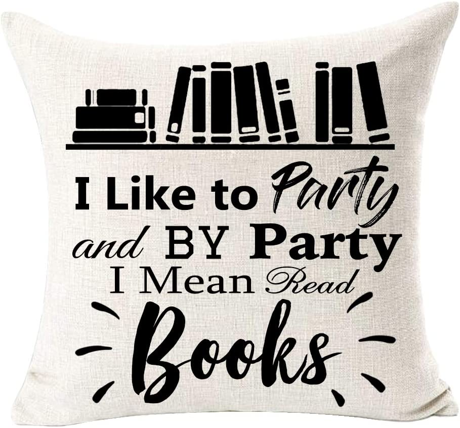 """SOPARLLY Book Lover Reading Club Like Party Read Books Cotton Linen Decorative Throw Pillow Case Cushion Cover Square 18""""X18 (Book D)"""
