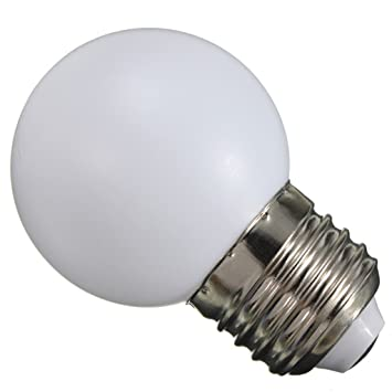 220v E27 1W LED Bombilla Lámpara Globo Ahorro de Energía Pelota de Golf Partido Fiesta - Blanco Cálido: Amazon.es: Hogar