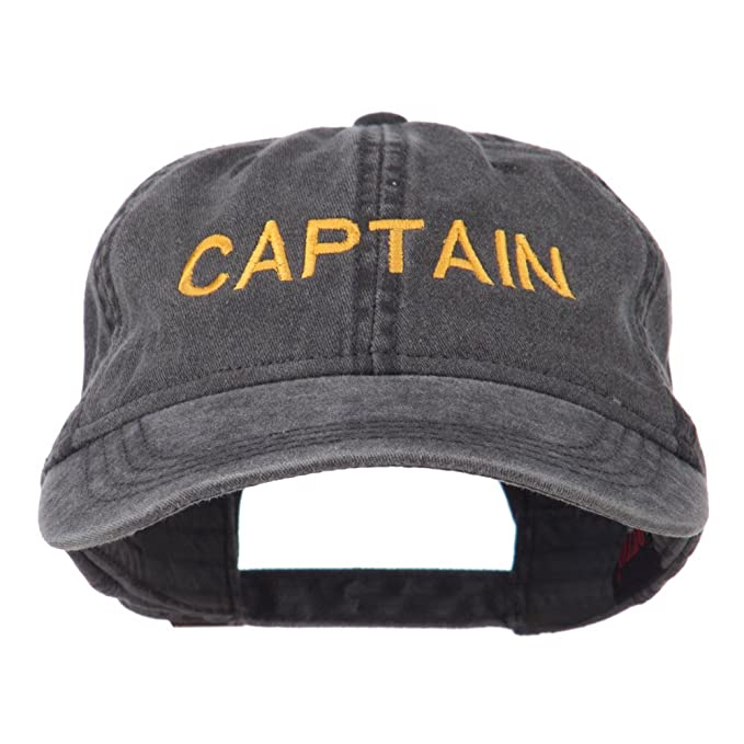 12bf0881131be e4Hats.com Captain Embroidered Low Profile Washed Cap - Black OSFM ...