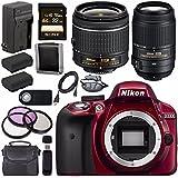 Nikon D3300 DSLR Camera with AF-P 18-55mm VR Lens (Red) + Nikon 55-300mm f/4.5-5.6G ED VR Lens + EN-EL14 Replacement Lithium Ion Battery + External Rapid Charger + Carrying Case Bundle
