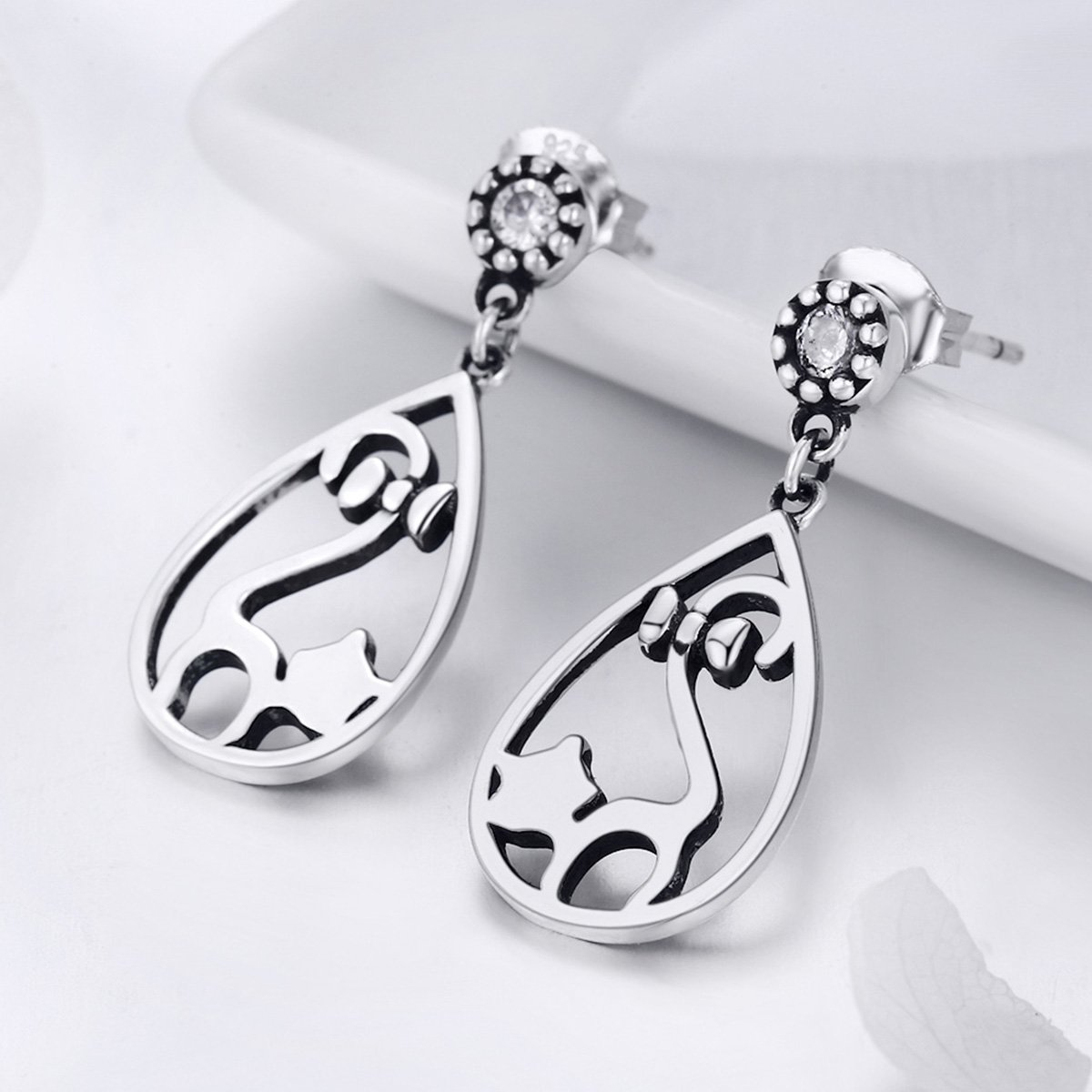 The Kiss Naughty Cat with Bowknot CZ 925 Sterling Silver Drop Earrings