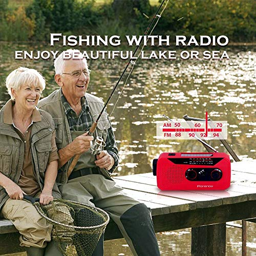 iRonsnow IS-366 Solar Emergency NOAA Weather Radio Hand Crank Windup WB/AM/FM Radios with Earphone Jack & Charge Indicator, 2000mAh Power Bank Phone Charger, Ultra Bright Flashlight for Camping (Red) by iRonsnow (Image #3)