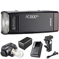 Godox AD200Pro TTL 2.4G HSS 1/8000s - Linterna de Bolsillo (Doble Cabeza, 200 W, batería de Litio de 14,4 V/2900 mAh)