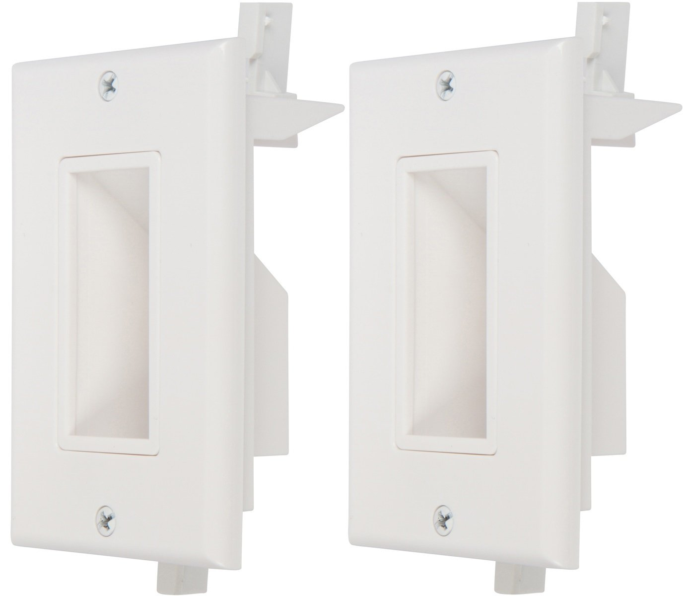 Buyer's Point Recessed Low Voltage Cable Wall Plate, Easy to Mount Outlet To Hide & Pass Tech Power Wires Through For TV, Video, Audio Amplifiers & Other Electronic Media