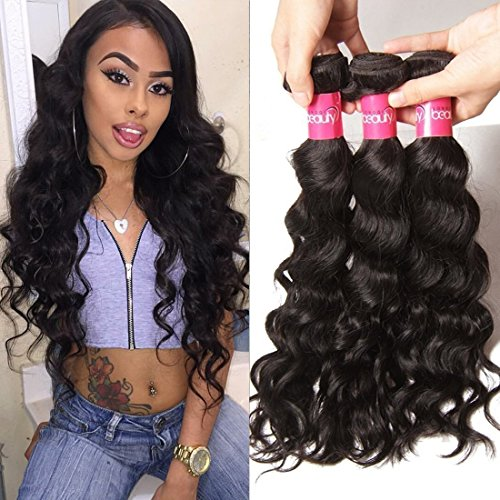 Klaiyi Hair Brazilian Natural Wave Human Hair Weft Weave Extensions 95-100g/ bundle pack of 3 Natural Color (14 16 18) free shipping