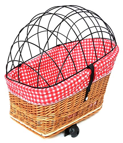 61GTOvAj0ML Tigana Hundefahrradkorb für Gepäckträger aus Weide Natur 60 x 39 cm Gitter Tierkorb Hinterradkorb Hundekorb für Fahrrad…