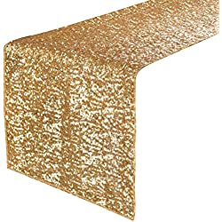 "PONY DANCE Party Table Runner - Banquet Decorative Sparkling Sequins Table Runner with Hem Edge for Decoration Christmas Birthday Holiday Wedding, 14"" x 108"", Gold, 1 Piece"