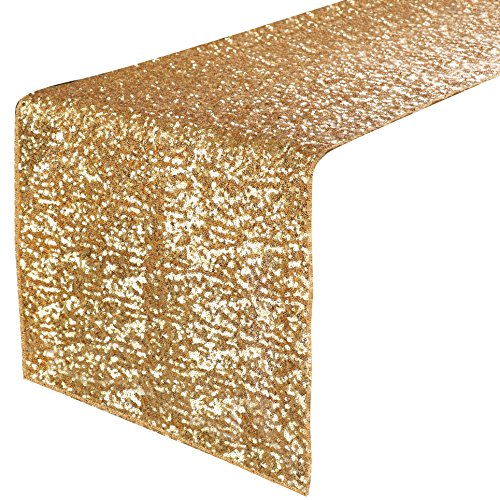 PONY DANCE Party Table Runner - Banquet Decorative Sparkling Sequins Table Runner with Hem Edge for Decoration Christmas Birthday Holiday Wedding, 14 x 108 inches, Gold, 1 Piece (Christmas Linens Table Decor)
