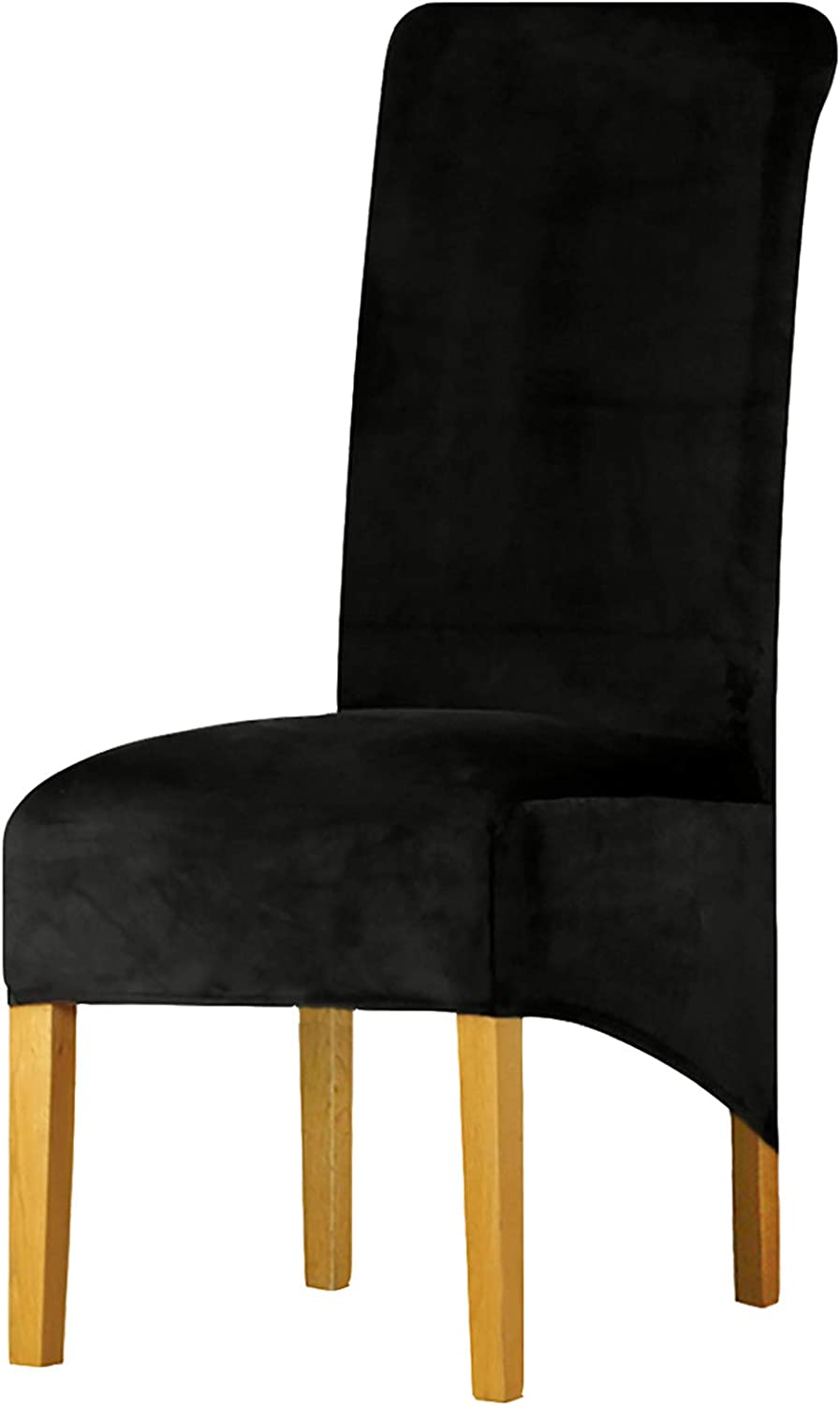 Velvet Plush XL Dining Chair Covers, Stretch Chaircover, Spandex High Chairs Protector Covers Seat Slipcover with Elastic Band for Dining Room,Wedding, Ceremony, Banquet (Black, Set of 2)
