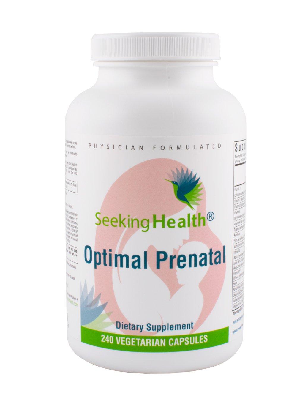 Optimal Prenatal | 240 Vegetarian Capsules | Iron Free | Physician Formulated | Seeking Health