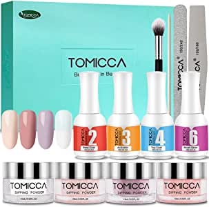 Dip Powder Nail Kit, TOMICCA Nail Dipping Powder System Starter Kit of 4 Colors 0.52oz - Finer Powder for Excellent Color - Easy to Apply (Pink Series)