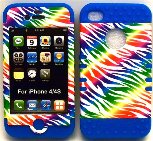 Cell Armor White Rainbow Zebra on Blue Silicone Skin for iPhone 4 4S Hybrid 2 in 1 Rubber Cover Hard Case fits Sprint, Verizon, AT&T Wireless ()