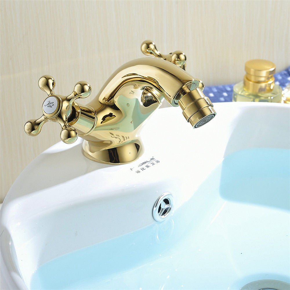 C Lpophy Bathroom Sink Mixer Taps Faucet Bath Waterfall Cold and Hot Water Tap for Washroom Bathroom and Kitchen Copper Retro Double Handle Copper Hot and Cold gold A