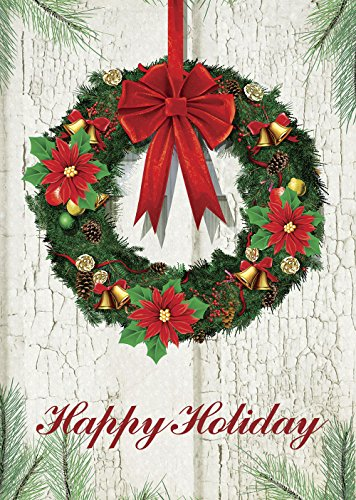 Morigins Welcome Christmas Wreath Double Sided Decorative Winter House Flag 28