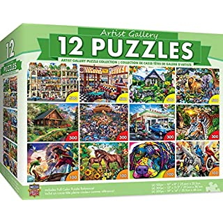 MasterPieces Artist Gallery Bundle, Jigsaw Puzzle, Featuring Beautiful Art Scenes, 12-Pack, 100, 300, 500 Pieces