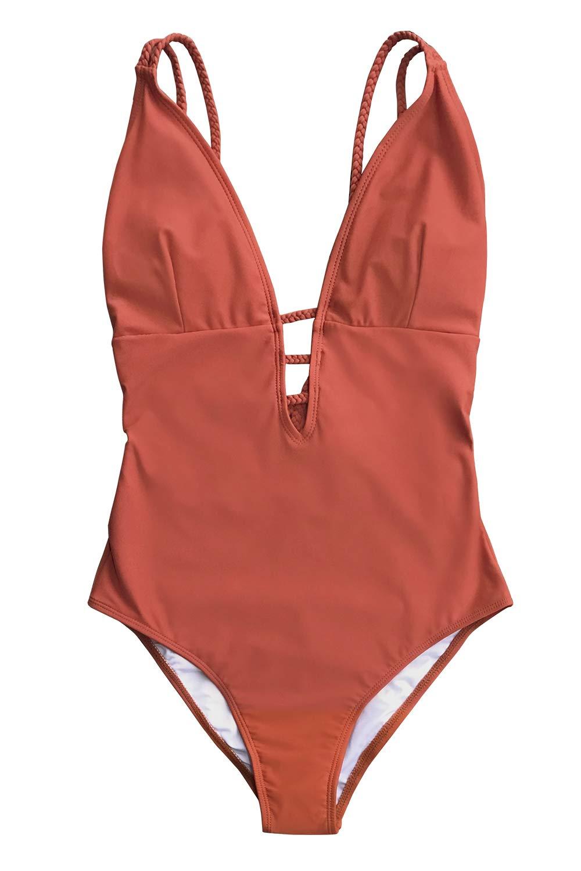 CUPSHE Women's Orange Braided Strap One Piece Swimsuit X-Small