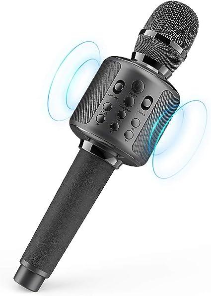 Negro Micr/ófono Inal/ámbrico Karaoke con Altavoz Port/átil Bluetooth Wireless