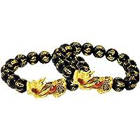 2Pcs Feng Shui Prosperidade Obsidiana Pixiu Banhado A Ouro Liga Pulseira Jóias Presente