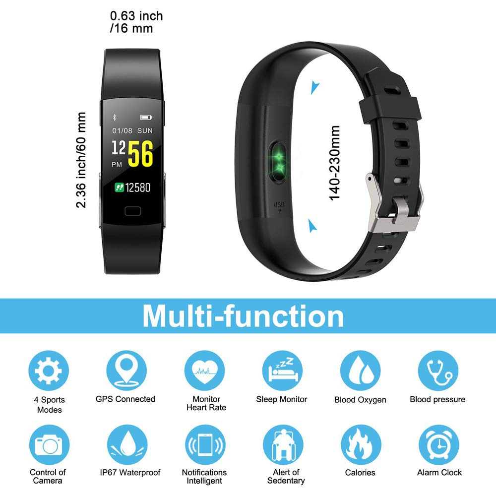 Semaco Pulsera Actividad Inteligente Pantalla Color de Deporte GPS Pulsómetro Monitor de Ritmo Cardíaco Impermeable IP67 Reloj Inteligente Podómetro para ...