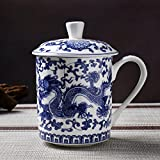 ufengke White and Blue Bone China Porcelain Tea Cup with Lid, Blue Dragon Painting, Daddy Cups, Gift Cups, 500ml