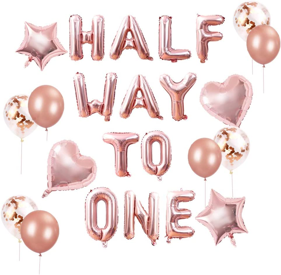 15 PCS JeVenis Rose Gold Half Way to One Banner Half Way to One Decorations for Girl 1//2 Birthday Decorations