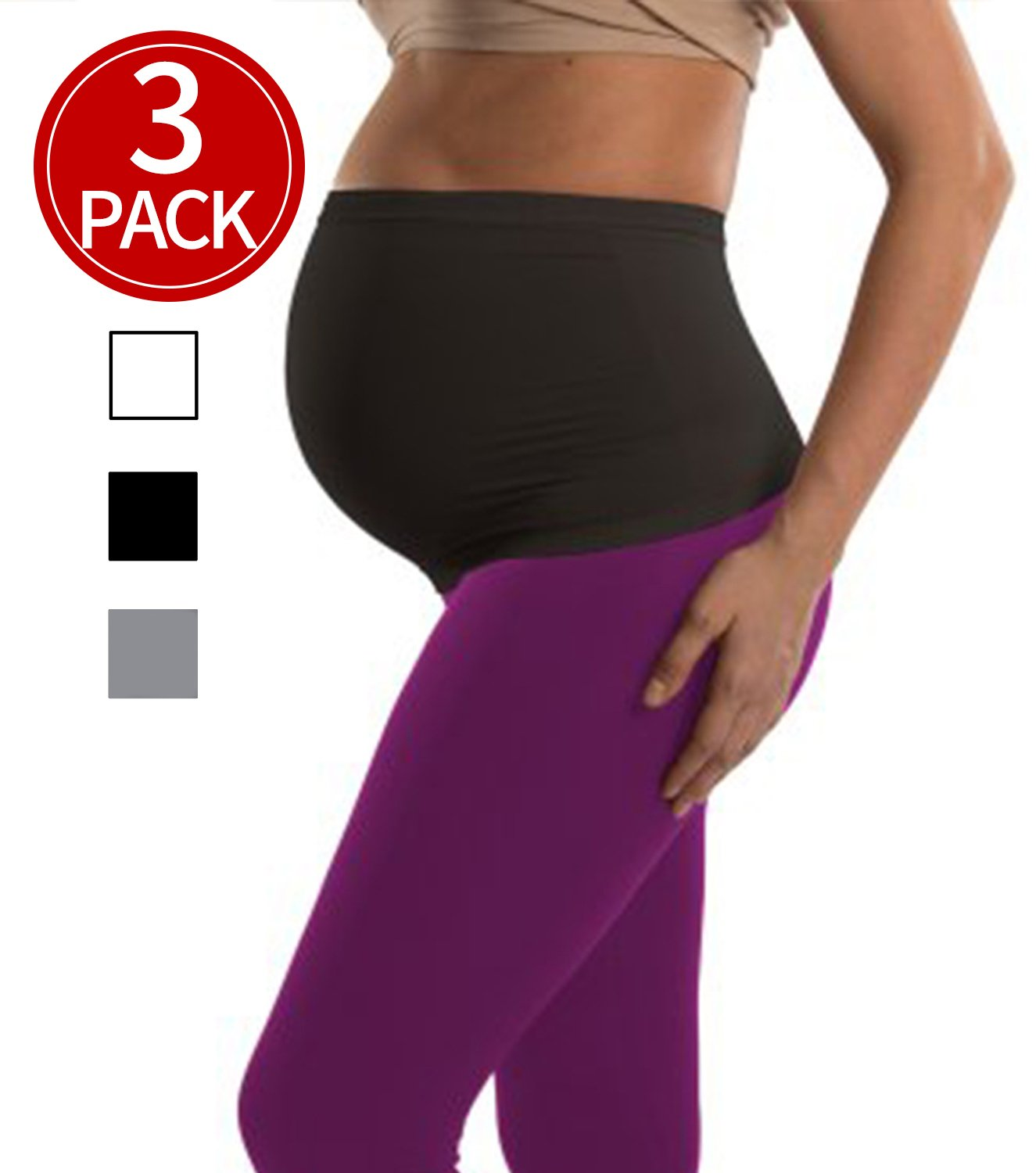 Womens Maternity Belly Band 3 Pack Seamless Everyday Support Bands for Pregnancy(Black+White+Grey) S