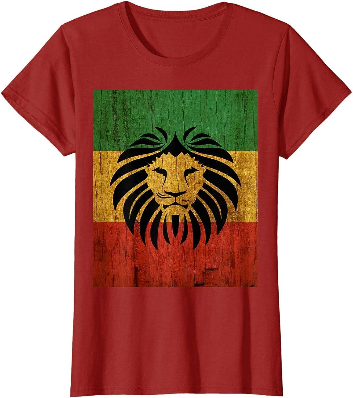 ryudryu Rasta Reggae Lion Flag Jamaica for Rastafari Lover T-Shirt ...