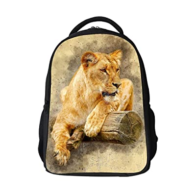 SARA NELL Kids School Bag Africa Tiger On Wood Vintage Design School Backpack Bookbag For Boys Girls | Kids' Backpacks