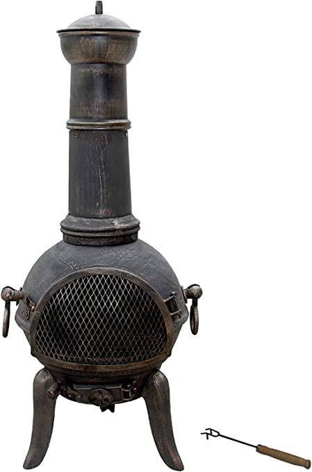 Nova - Chimenea de exterior de hierro fundido, diseño vintage, altura 108 cm, con atizador incluido, de carbón/madera - Estufa de jardín, chimenea de exterior: Amazon.es: Jardín