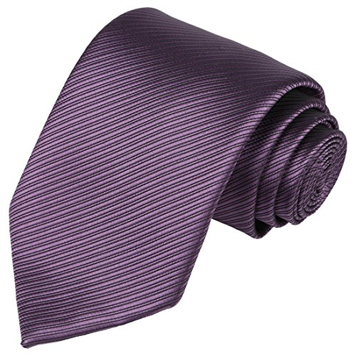 KissTies Eggplant Purple Tie Plum Ties Solid Striped Pure Color Necktie