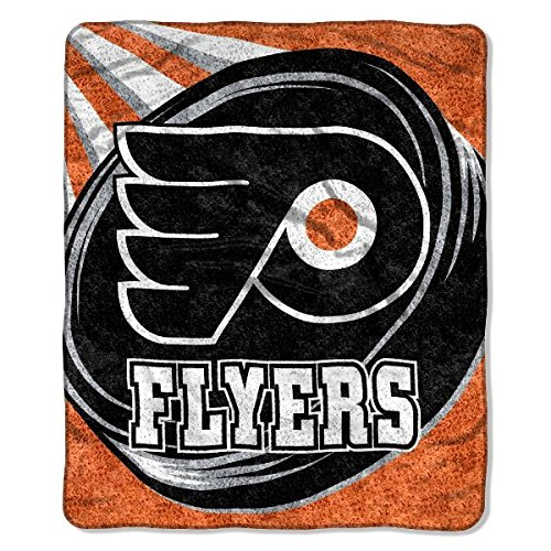 The Northwest Company Officially Licensed NHL Philadelphia Flyers Puck Sherpa on Sherpa Throw Blanket, 50