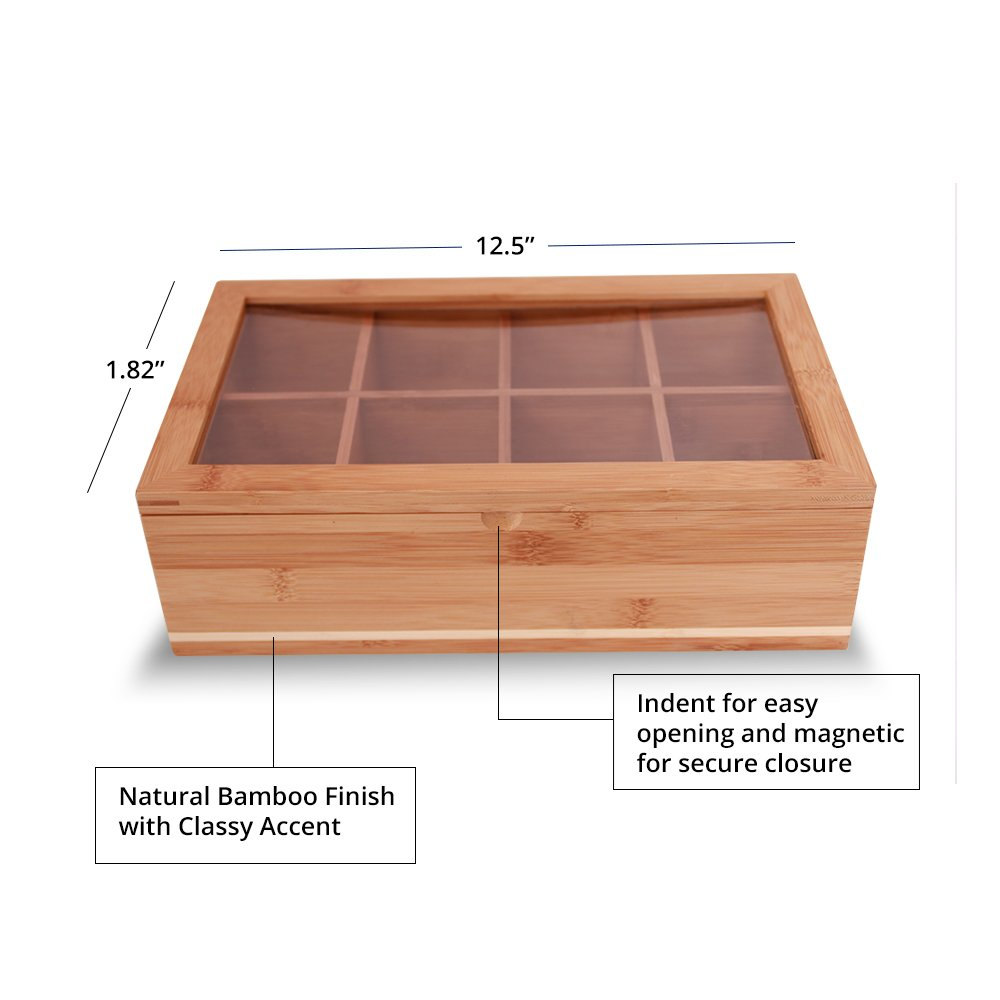 Everything Bamboo Wooden Tea Bag, Condiment or Small Accessories Storage Organizer Caddy with Clear Lid & 8 Compartments by Everything Bamboo (Image #2)