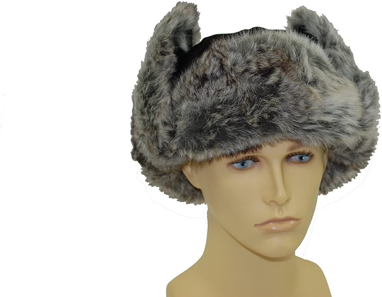 Trapper Hat with Faux Fur Trim 59cm Unisex Black Leather Style Ushanka