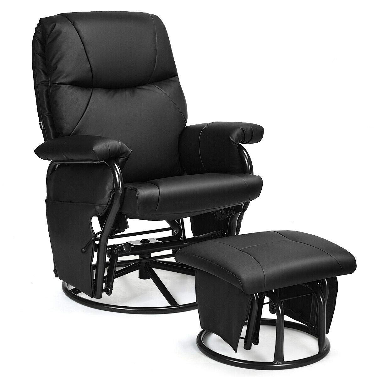 Giantex Glider Recliner with Ottoman, Swivel Glide Rocking Chair with Footrest Stool, PU Leather Lounge Armchair, 360 Degree Swivel Overstuffed Padded Seat Chair (Black) by Giantex