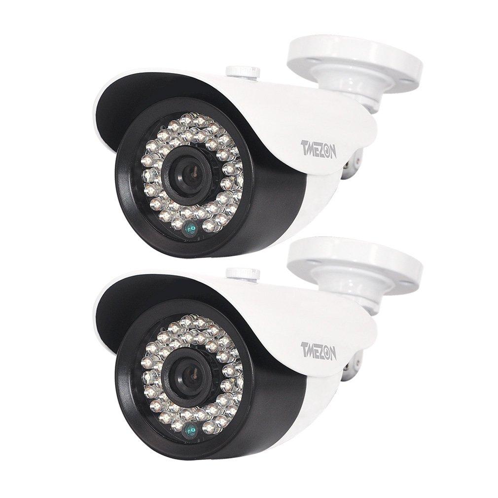 TMEZON 2個IPカメラ 200万画素 赤外線LED36個 3.6mmレンズ ハイビジョンカメラ 昼夜間監視 dahuaと他のOnvif NVRサポート 白い(POE付き) B01AJGTH7Q