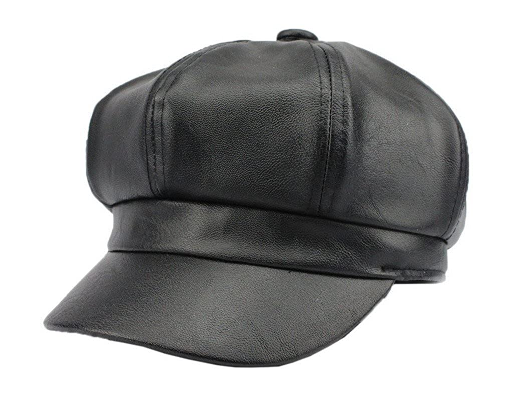Bigood Unisex Fashion Newsboy Cap Leather Baseball Cap Sport Outdoor Hat Black