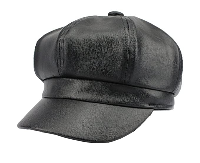 0e67f02918c Image Unavailable. Image not available for. Color  Bigood Women Fashion PU  Leather Solid Ascot Ivy Newsboy Cap Berets Black